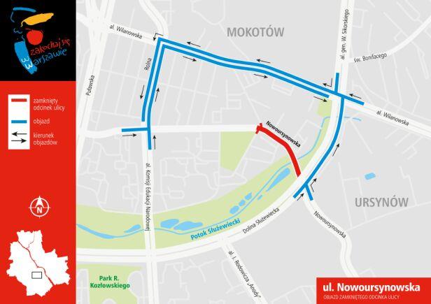 Nowoursynowska jest  zamknięta do poniedziałku ZDM