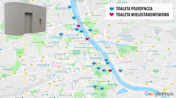 Mapa automatycznych toalet Google, tvnwarszawa.pl