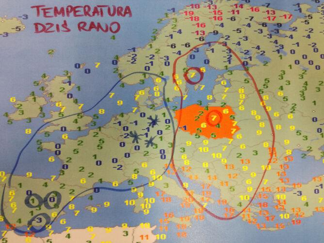 Temperatura powietrza w niedzielę o godzinie 6 (wetteronline.de)