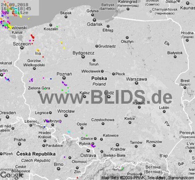 Ścieżka burz w godzinach 16.45-18.45 (blids.de)