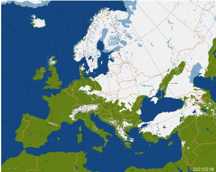 Pokrywa śnieżna w Europie, stan na 18.02.2021 (Centrum Badań Kosmicznych PAN)