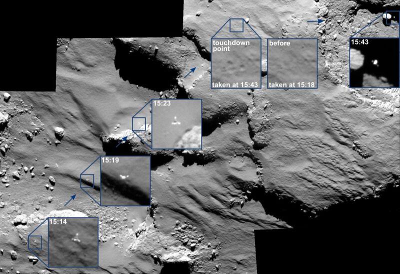 Zarejestrowane ostatnie pół godziny przelotu, miejsce pierwszego zetknięcia się z powierzchnią i lądowanie Philae